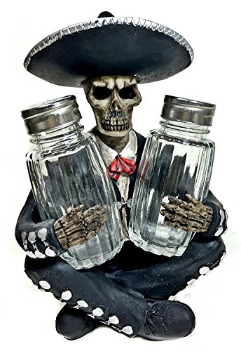 Dia de Los Muertos Mariachi Glass Salt Pepper Shaker Spice Rack Stand Holder Figurine Spooky Halloween Party Skulls & Skeletons Kitchen Decor Table Centerpiece Sculptures As Medieval or Gothic Gifts
