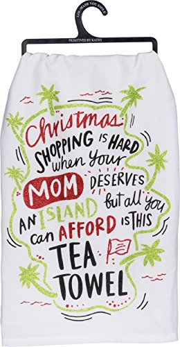 Primitives By Kathy 28 Inches Square Cotton Glitter Christmas Towel Sign Mom Deserves An Island