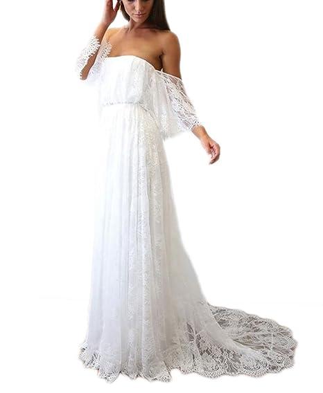 Drehouse Womens Vintage Lace Off The Shoulder Beach Wedding Dresses