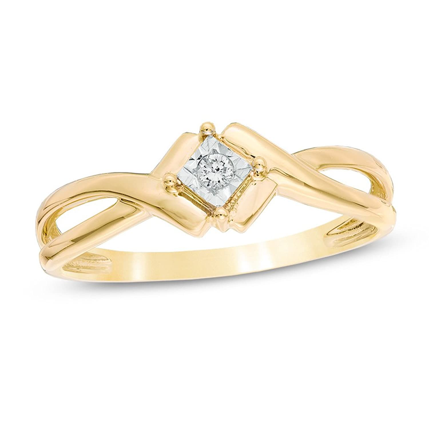dbfc54df248b7 Diamond Promise Ring in 10k Yellow Gold and Rhodium Plated 10k White ...