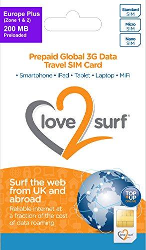 love 2 surf International 3G/4G Data Travel Trio SIM Card - EUROPE PLUS -...