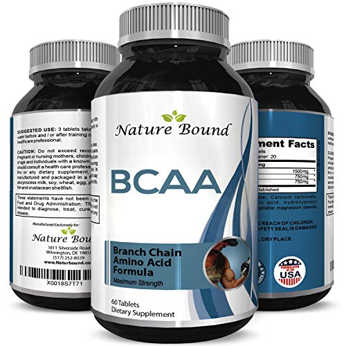 BCAA Pills-Pure Concentrated Essential Amino Acids-Muscle Recovery + Repair-Build Muscle-Best Lean Gains Supplements -Women + Men - 3000 mg Dosage by Nature Bound (Best Way To Gain Muscle)