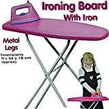 Children Pretend Play Folding Ironing Board Toy with Iron Pink Girls Fun Activity House Play Bedroom Xmas Birthday Gift Set
