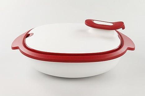 Recipiente Thermo-Duo de Tupperware, de 1,3 l, colores rojo y blanco, mantiene la comida caliente, Iso-Duo 17011