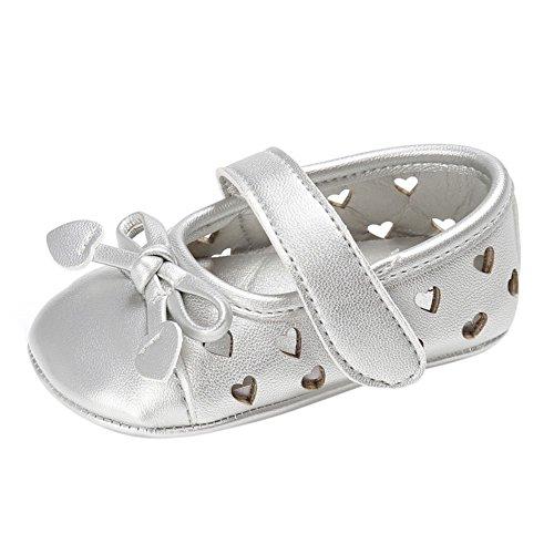 BOBORA PU Cuero Bebe Ninas Princesa Zapatos Ninos Recien Nacidos Mary Jane Arco Hueco En Forma De Corazon Suave Suela Antideslizante