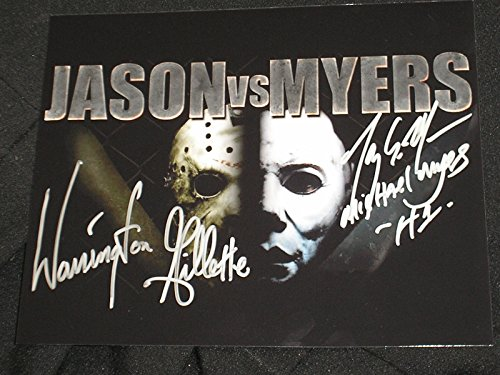 TONY MORAN & WARRINGTON GILLETTE 2X Signed Myers vs Jason 8X10 Photo Friday the 13th -