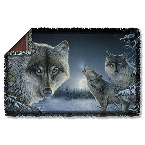 Wicked Tees WILD WINGS MIDNIGHT WOLVES 2 Woven Throw