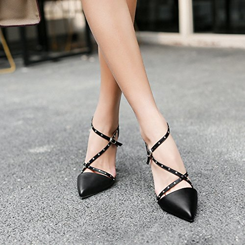 Women's Pointy Toe High Heels Stiletto Shoes Ankle Strap Sandals For Dress Wedding Party Black SCk83g