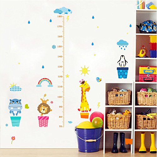 GohEun Cartoon Animals height measure Wall sticker room growth decal home (Celebrity Couples For Halloween Ideas)