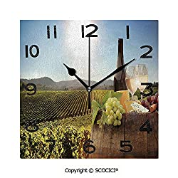 SCOCICI 8 Inch Square Face Silent Wall Clock White Wine with Barrel On Famous Vineyard in Chianti Tuscany Agriculture Decorative Unique Contemporary Home and Office Decor