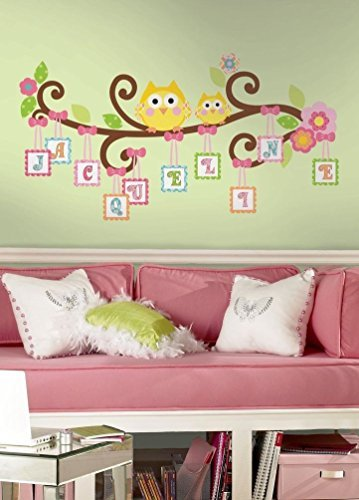 Lunarland HAPPI SCROLL TREE LETTERS BRANCH 98 BiG Wall Decals Owls Room Decor Stickers ABC ()
