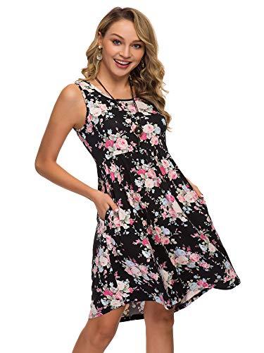 (Womens Midi Dress 3/4 Sleeve Polka Dot O Neck Casual Tunic Pleated Loose Vintage Retro Swing Dresses with Pockets (XXL, Rose))