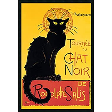 Framed Art Print, 'Tournee du Chat Noir (Yellow)' by Theophile Alexandre Steinlen: Outer Size 25 x 37