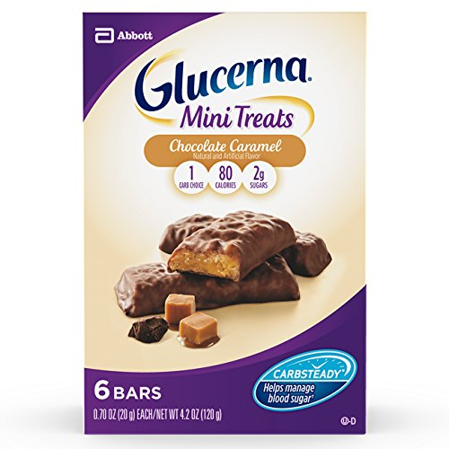 Glucerna Mini Treat Bars, To Help Manage Blood Sugar, Chocolate Caramel, 0.70 Ounce Bar, 36 Count (Packaging May Vary) Caramel Chocolate Sugar