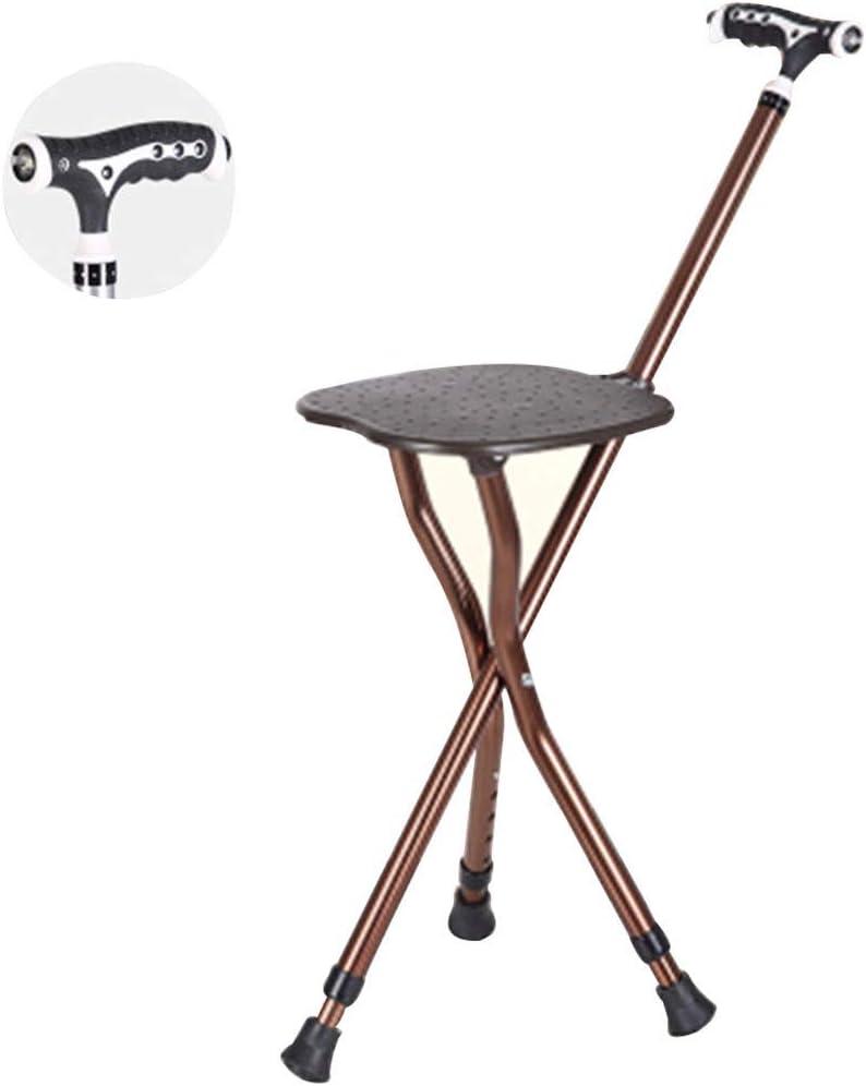 HSBAIS 折り畳まれた杖、3本足 調節可能な高さ 杖 LED照明付き 松葉杖シート アルミニウム 441ポンド高齢者向けギフト,褐色_85-95cm 褐色 85-95cm