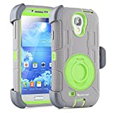 S4 Case,Heavy Duty Protection Case and Holster for Samsung Galaxy S4 - Extremly Protective Dual layer Case with 360 Degrees Swivel Ring Kickstand and Rugged Face- in and out Holster (Grey Green)