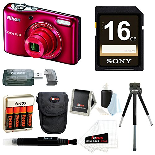 Nikon-COOLPIX-L32-Camera-Red-16GB-Deluxe-Accessory-Kit