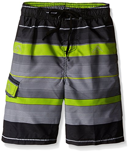 Kanu Surf Little Boys' Specter Quick Dry Beach Swim Trunk, Charcoal, Large (7) (Boys Swim Trunks Size 7)