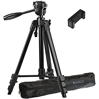 "Ravelli APLT4 61"" Light Weight Aluminum Tripod With Bag Includes Universal Smartphone Mount"