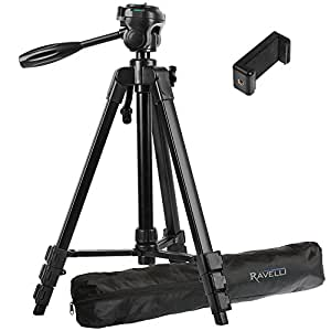 """Ravelli APLT4 61"""" Light Weight Aluminum Tripod With Bag Includes Universal Smartphone Mount"""
