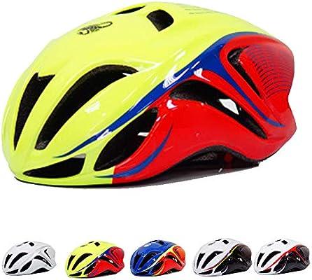Casco Bicicleta Adulto,CE Certified- Casco Bicicleta Montaña Absorción de Choque de Seguridad,Casco Ciclismo para Hombres Mujeres Transpirable Casco Bici BMX Equipo de equitación,Yellow red: Amazon.es: Deportes y aire libre