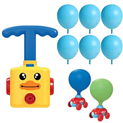 HEITIGN Balloon Race Car, Childrens Inertia Power Balloon Car, DIY Balloon Power Car Toy Experiment Intelligence Education Fun Science Car Baby Toys Kids Gift with Balloon, Yellow: Arts, Crafts & Sewing