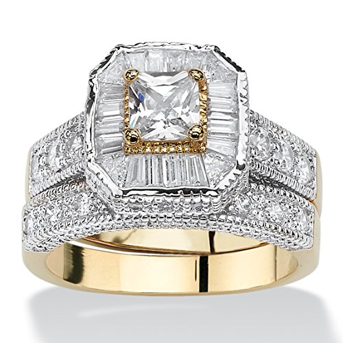 White Cubic Zirconia Two-Tone 14k Gold-Plated Vintage-Style 2-Piece Bridal Ring Set Size (Rectangle Two Tone Ring)