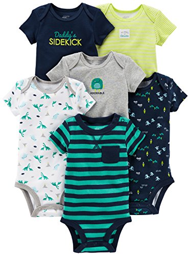 Simple Joys by Carter#039s Baby Boys 6Pack ShortSleeve Bodysuit Navy/Turquoise 12 Months