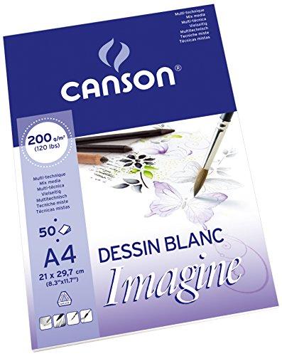 Canson 200006008 Imagine Mix-Media Papier, A4, rein weiß
