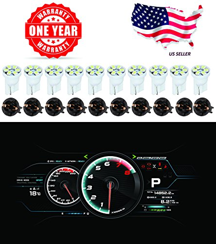 ⭐️ LED Monster T10 194 LED Light bulb 168 LED Bulbs Bright Instrument Panel Gauge Cluster Dashboard LED Light Bulbs Set 10 T10 LED Bulbs with 10 Twist Lock Socket – White (1985 Toyota Pickup Dash)