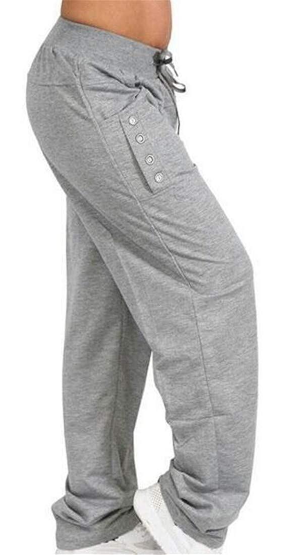 Wofupowga Mens Loose Fit Straight Elastic Waist Fitness Running Pants Trousers