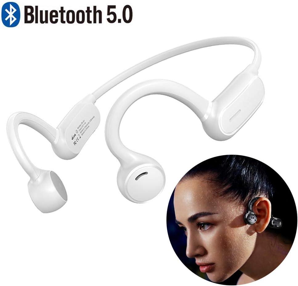 Braveking1 Auriculares de Conducción Ósea Cascos Deportivos Control Tactil Bluetooth Open-Ear Impermeable Estéreo Inalámbricos con Microfono para Trotar Ciclismo Conducir y Estado Físico,Blanco