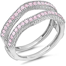 0.45 Carat (ctw) 14k Gold Pink Sapphire Diamond Ladies Wedding Band Millgrain Guard Double Ring 1/2 CT