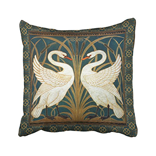 Musesh Bird Walter Crane swan Rush and iris Art Nouveau Cushions Case Throw Pillow Cover for Sofa Home Decorative Pillowslip Gift Ideas Household Pillowcase Zippered Pillow Covers 20X20Inch