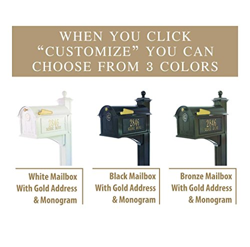 Personalized Whitehall Balmoral Mailbox with Side Address Plaques, Monogram & Post Package (3 Colors Available) by Personalized Mailbox (Image #2)