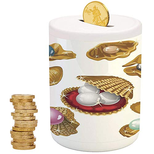 (Pearls,Piggy Bank,Printed Ceramic Coin Bank Money Box for Cash Saving,Set of Open Shells with Different Type of Pearls Wealth Ancient Gemstone of The Sea Print)