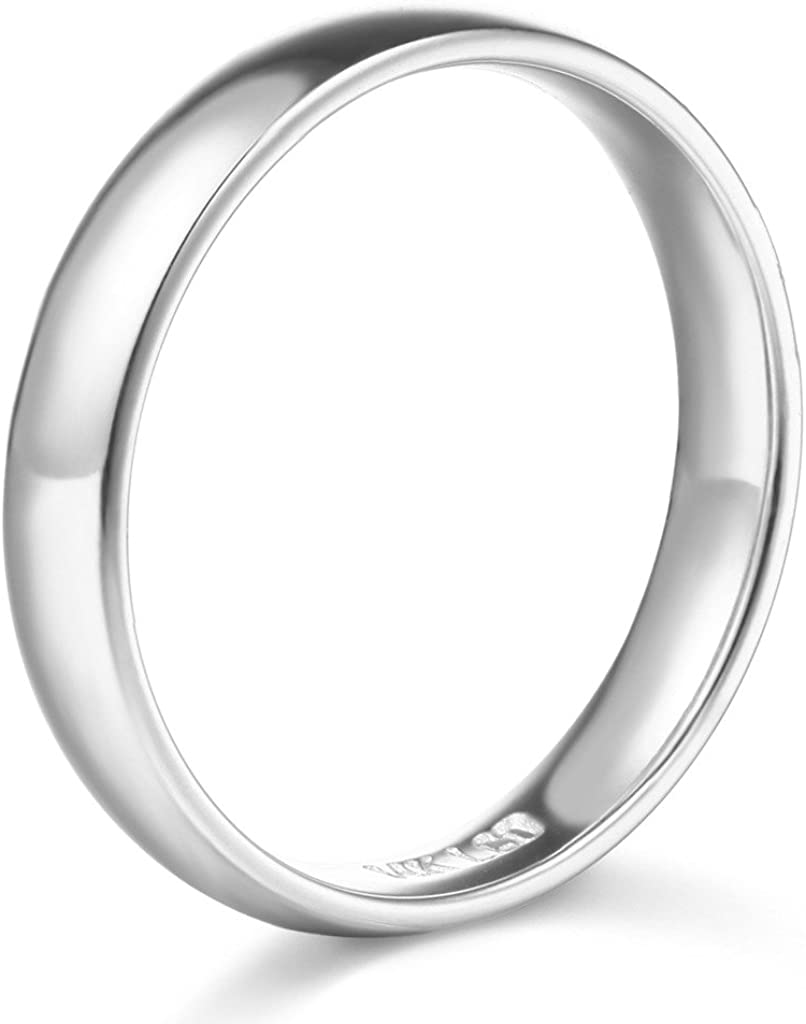 14k Yellow OR White Gold 4mm SOLID COMFORT FIT Plain Wedding Band