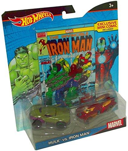 Hot Wheels Marvel Hulk vs. Iron Man Character Car 2-Pack with Comic