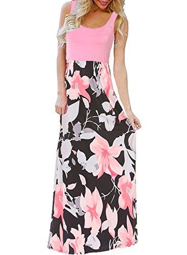 BLUETIME Women's Floral Print Flowy Party Maxi Dress Summer Beach Bohemian Sundress (Pink, XXL) -
