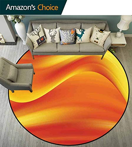 Burnt Orange Round Carpet Liner,Digital Waves with Different Tones in Motion Smooth Hot Lines Decorative Artprint Stain Resistant & Easy to Clean,Burnt Orange,D-63 ()
