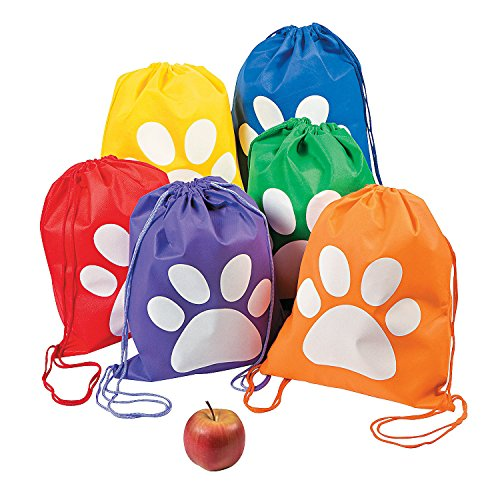 Fun Express - Paw Print Drawstring Backpack - Apparel Accessories - Totes - Novelty Totes - 12 Pieces