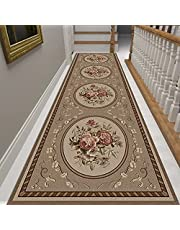 Runner Rug French Traditional Brown Runner Rug, Fade Resistant Contemporary Floral Hallway Entryway Living Dining Room Area Rug Carpet, Machine Washable