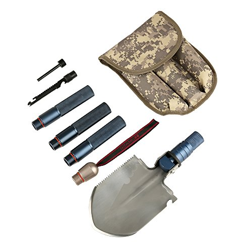 BFU Multi function Military Folding Shovel, Mini Tactical Entrenching Tool, Multi Purpose for Camping, Backpacking, Outdoor Hiking, Garden, Snow, Car, Self Defense Kit with Storage Bag