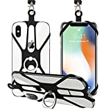 SHANSHUI Phone Lanyard, 2 in 1 Detachable Neck Strap Silicone Holder with Ring Stand Grip Compatible with iPhone, Samsung Galaxy and Most Smartphones (Black)