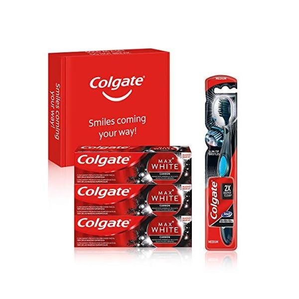 Colgate Kit blancheur au charbon avec 3 Dentifrice blanchissant Colgate Max White Charbon Actif 75ml et la brosse à…