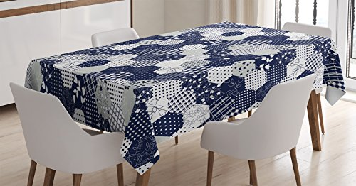 Navy Blue Decor Tablecloth by Ambesonne, Octagon Patchwork Style Pattern Image with Dots Stars Squares Stripes, Dining Room Kitchen Rectangular Table Cover, 52 W X 70 L Inches, Navy and White (Table Cloth Octagon)