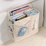 6 Pocket Bedside Storage Caddy, Book Magazine TV Remote Accessory Under Mattress Organizer Bag (White)