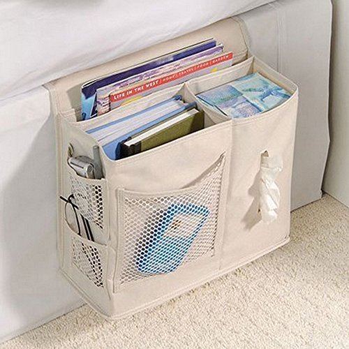 6 Pocket Bedside Storage Caddy, Book Magazine TV Remote Accessory Under Mattress Organizer Bag (White) Tune Up