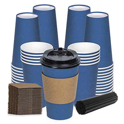 Savourio Coffee Cups with Lids - 16 Oz Disposable Coffee Cups 100 Pack Paper Cups with Stirring Straws, Lids, Sleeves, Hot Coffee Container - Blue Tall Tea Cup to Go - Leakproof Paper Sleeves Cups
