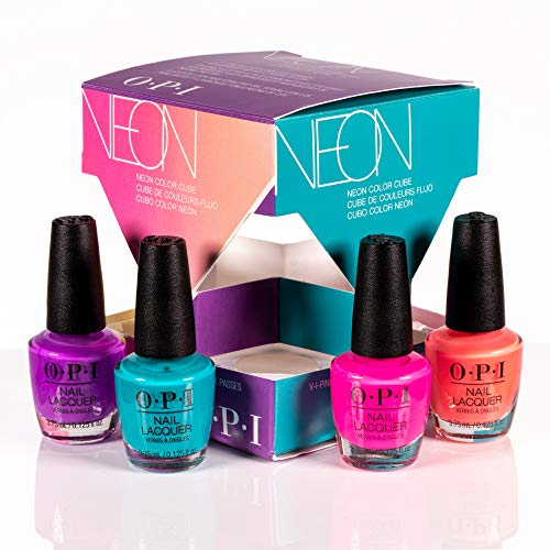 Polish Collection - OPI Summer 2019 Neons Collection Nail Lacquer 4 Piece Color Cube Mini Pack, 0.5 Fl. Oz.